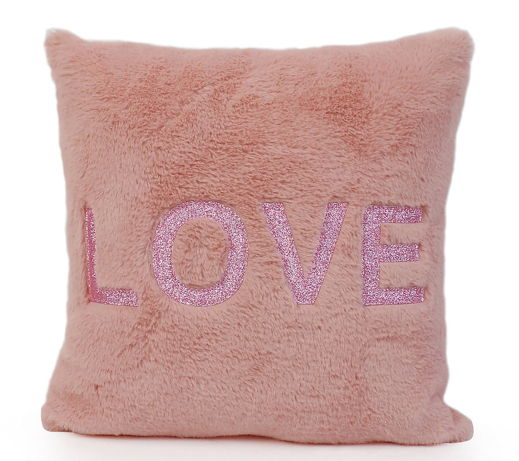 OMG Glitter Love Patched Pink Pillow