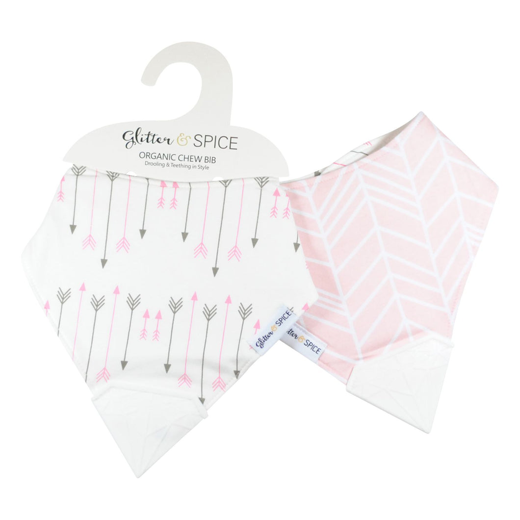 Glitter & Spice Double Sided Organic Chew Bib - Herringbone/Blushing Arrow
