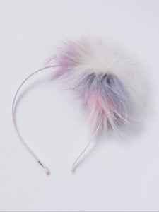 Girl's fur pom-pom headband