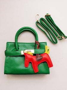 Girl's Green Faux Leather Satchel Sandbag with Horse Charm