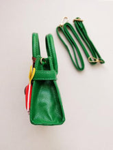 Load image into Gallery viewer, Girl's Green Faux Leather Satchel Sandbag with Horse Charm