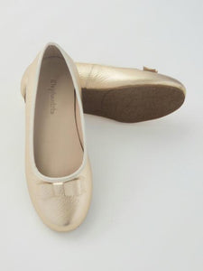 Girl's gold ballet flats with bow