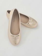 Load image into Gallery viewer, Girl's gold ballet flats with bow