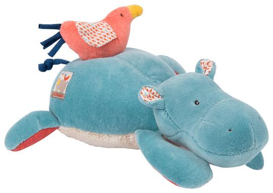 Moulin Roty Musical Stuffed Animal - Hippopotamus Les Papoum