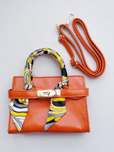 Load image into Gallery viewer, Girl's Orange Faux Leather Scarfed Handle Satchel Handbag