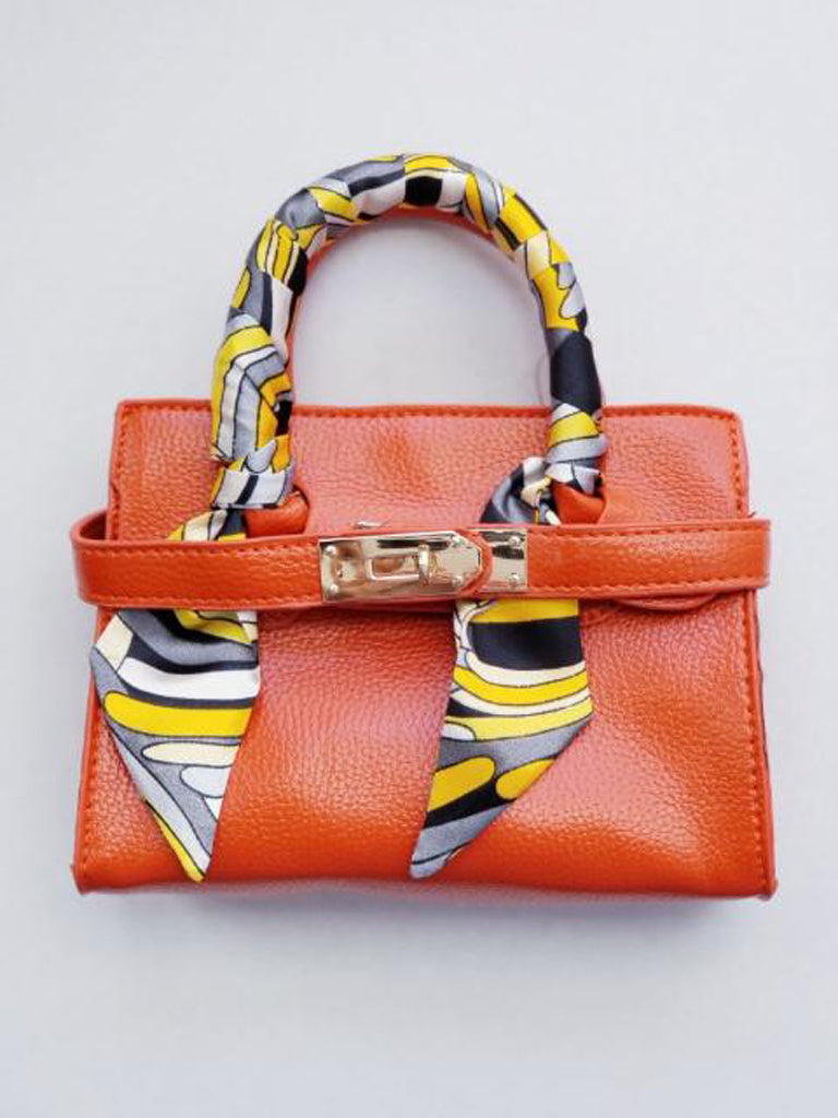 Girl's Orange Faux Leather Scarfed Handle Satchel Handbag