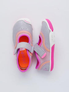 Plae Girl's Silver/Pink Mary Jane