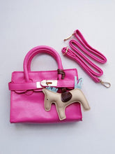 Load image into Gallery viewer, Girl's Hot Pink Faux Leather Satchel Handbag with A Horse Charm