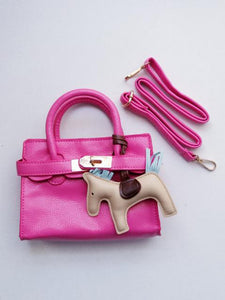 Girl's Hot Pink Faux Leather Satchel Handbag with A Horse Charm