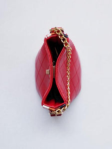 Girl's Red Quilted Cross-Body Bucket Bag