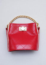 Load image into Gallery viewer, Girl's Red Quilted Cross-Body Bucket Bag
