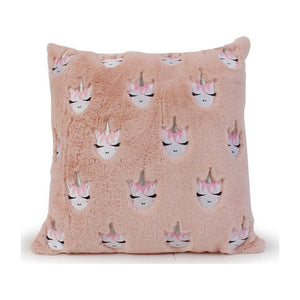 OMG Embroidered Unicorn Pink Throw Pillow