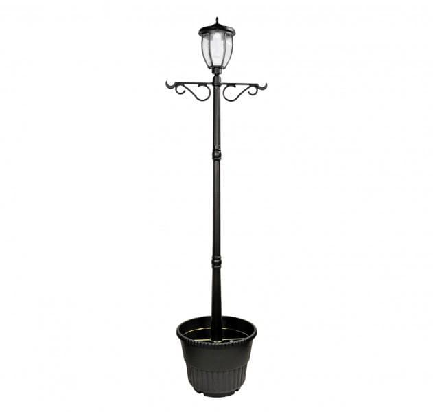 Nature Power Outdoor Terrace LED Solar Lamp Post and Planter - 23107