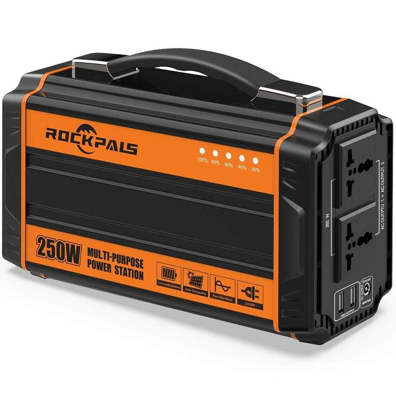 Rockpals 250W Power Station + 60W Solar Panel Kits
