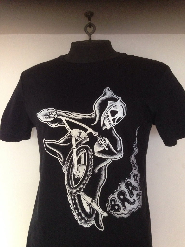 the grim reaper rides a two stroke black t shirt