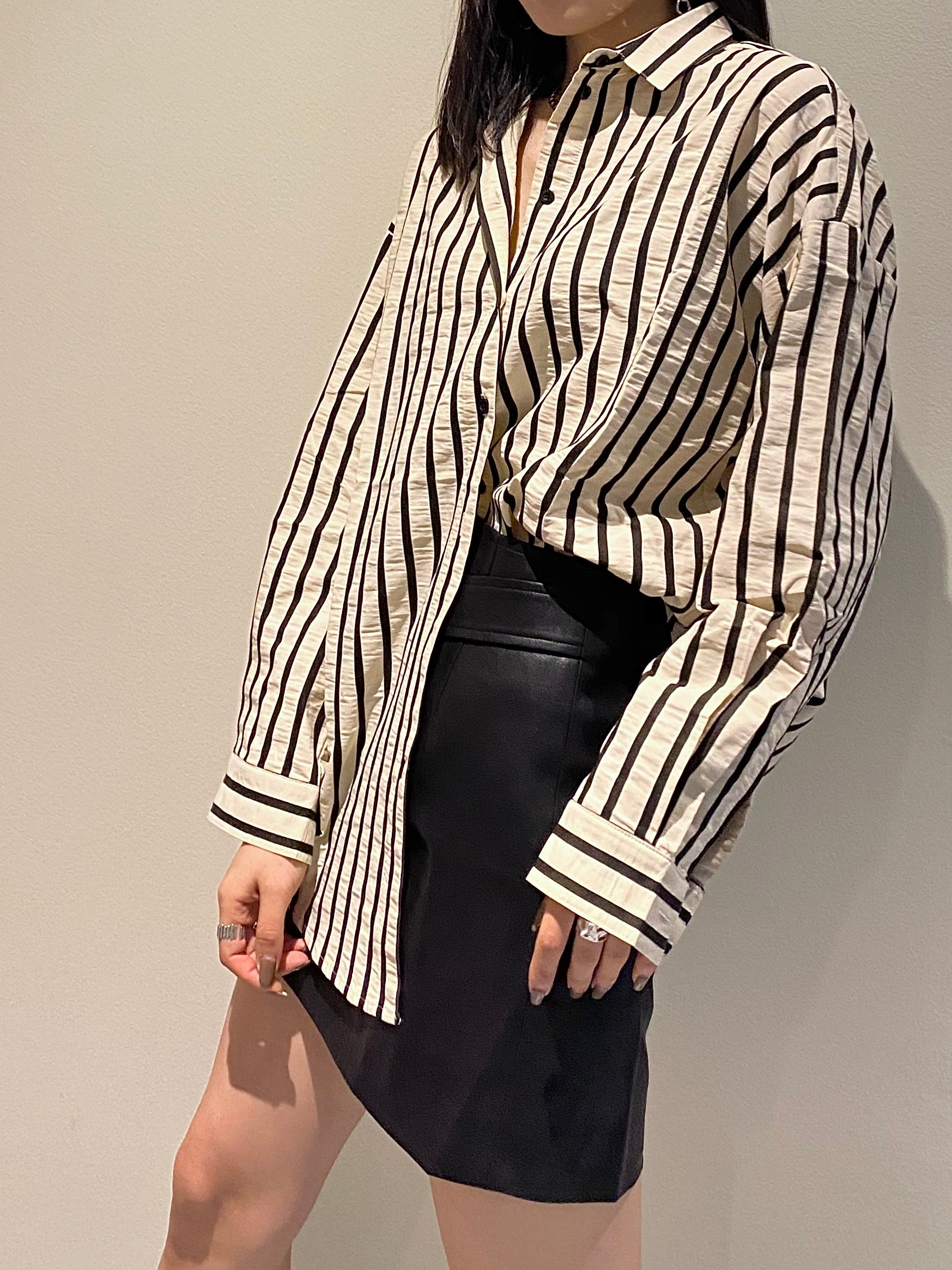 Pin-Stripe Button Up Cream/Black
