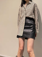 Load image into Gallery viewer, Vegan Leather Skirt Black