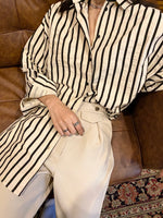 Load image into Gallery viewer, Pin-Stripe Button Up Cream/Black