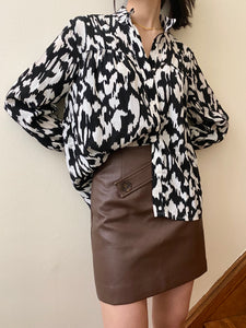 Vegan Leather Skirt Cocoa Brown