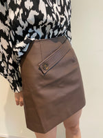 Load image into Gallery viewer, Vegan Leather Skirt Cocoa Brown