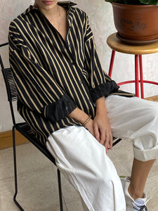Pin-Stripe Button Up Black/Gold