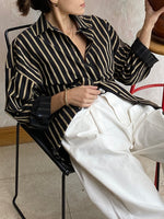 Load image into Gallery viewer, Pin-Stripe Button Up Black/Gold