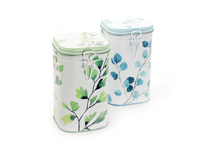 Tea Caddy Trees Design Hermetically Sealed