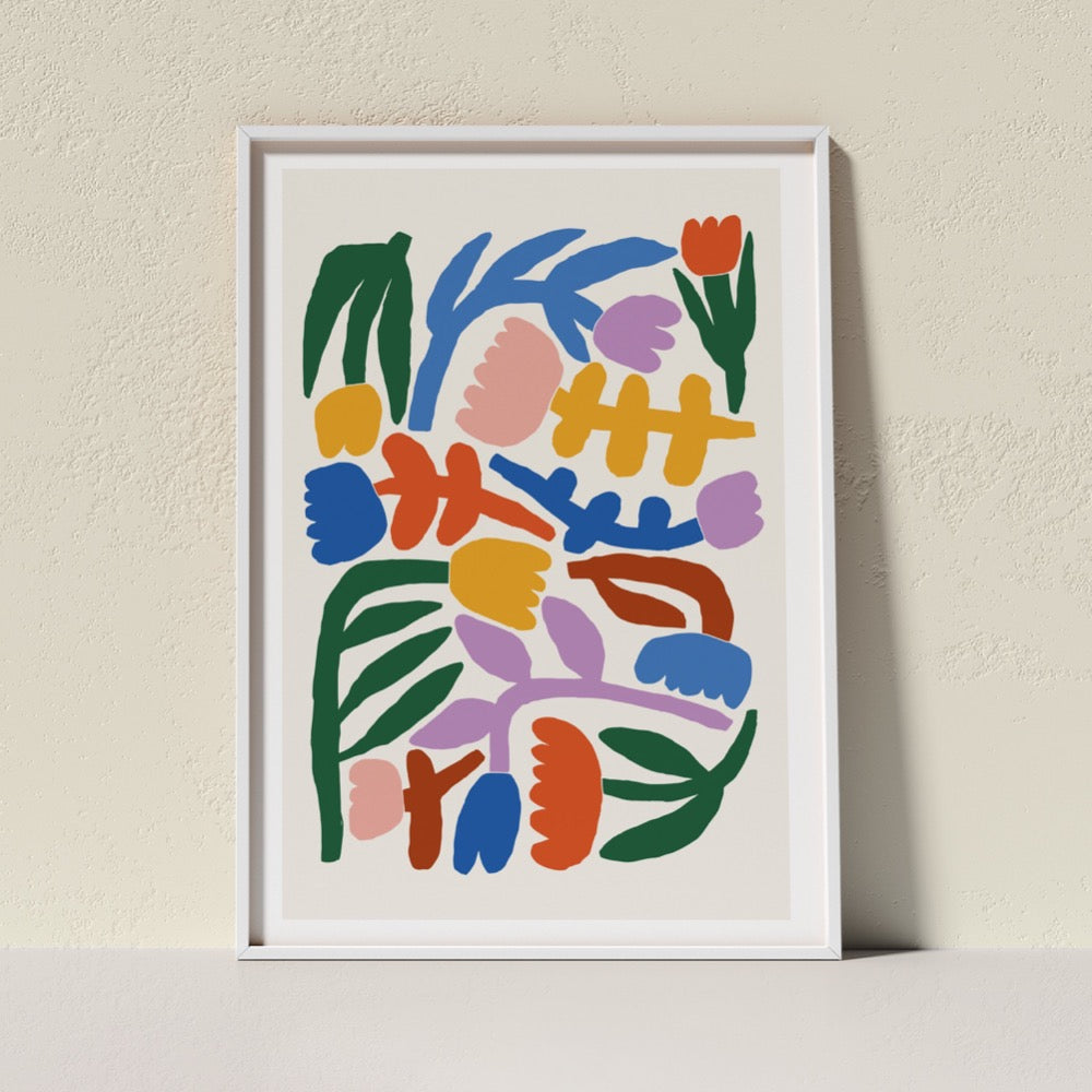 Bold and bright coloured flower Giclée Art Print. A cheerful addition to any space.