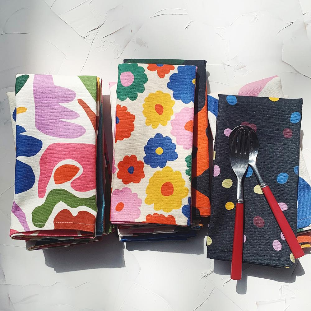 From left to right; the Fracture Kitchen Towel, the Flower Kitchen Towel, the Spot Speck Kitchen Towel.