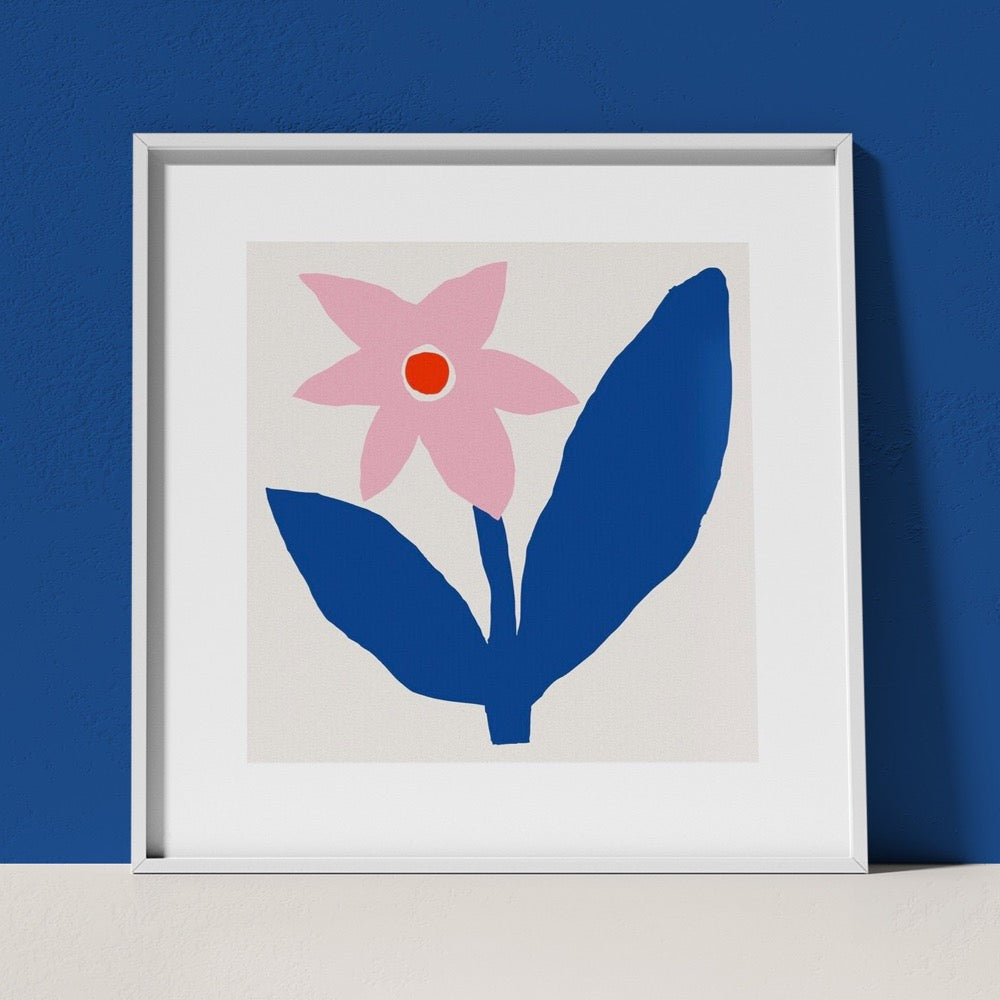 A colourful Giclée Art Print featuring a blue stem with unevenly sized leaves holding up a pink flower with a red center. A cheerful addition to any space.