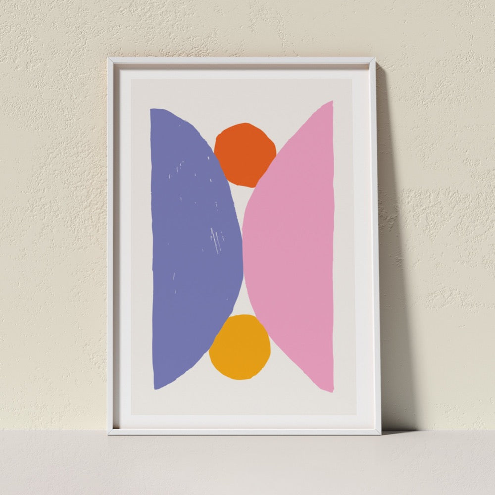 A colourful Giclée Art Print featuring two semi-circles in purple and pink holding two round circle shapes in orange-red and yellow. A cheerful addition to any space.