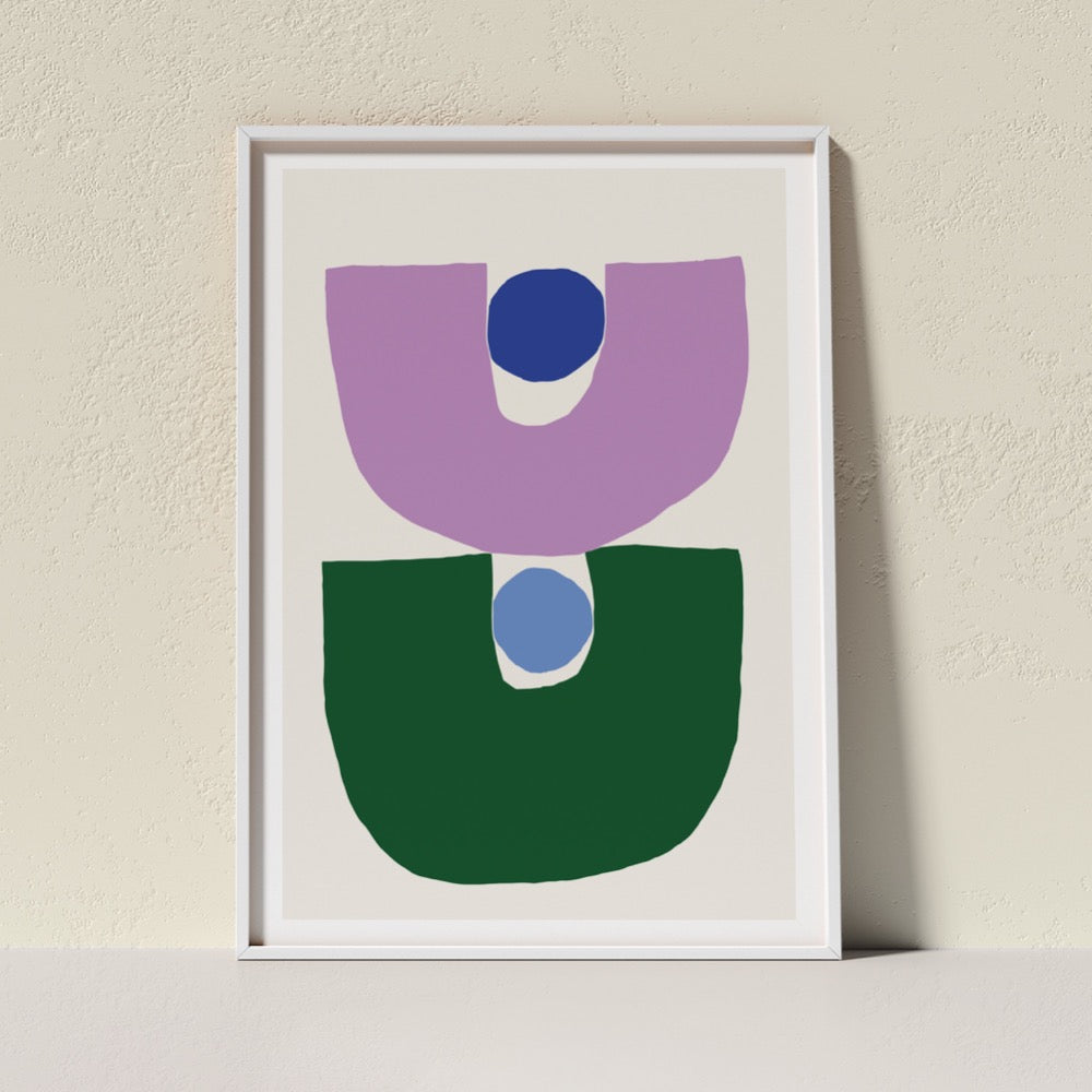 A colourful Giclée Art Print featuring two inverted arches in purple and mid-green each holding a round circle shape in light and dark blue. A cheerful addition to any space.