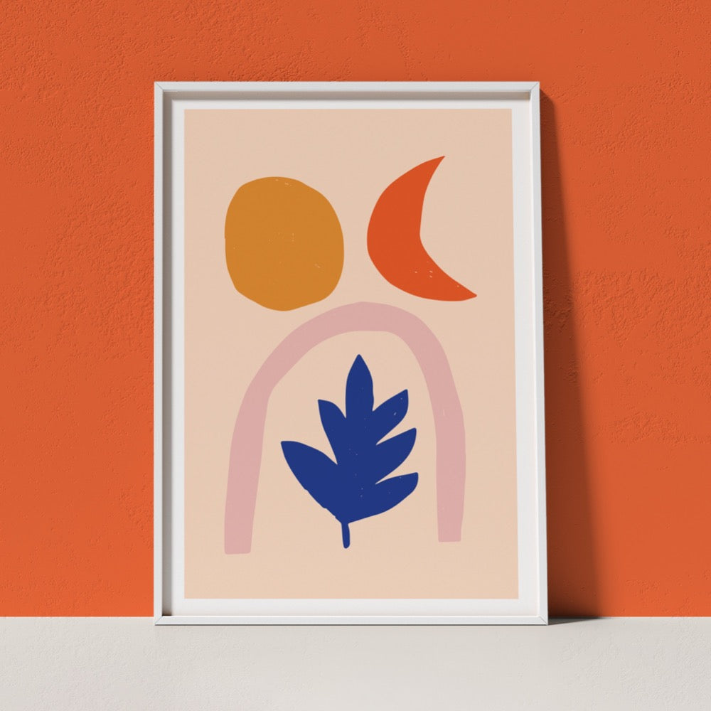 A colourful Giclée Art Print depicitng a light orange sun, an orange moon, a neutral pink arch and a dark blue leaf on a light peach background. A soothing addition to any space.