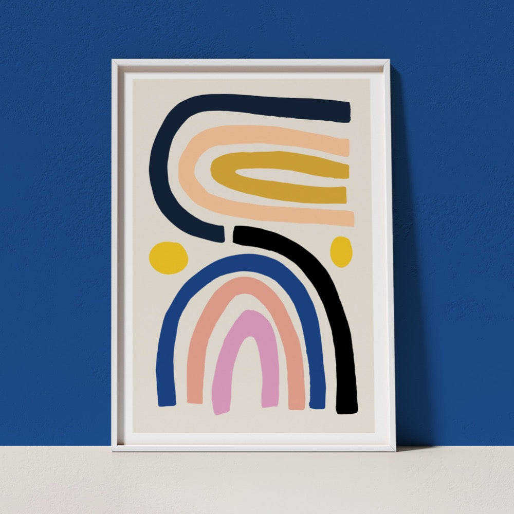A best-selling Giclée Art Print from Artist Claire Ritchie. Two multi-colour rainbows sit side by side with a yellow orb by each side. A soothing addition to any space.