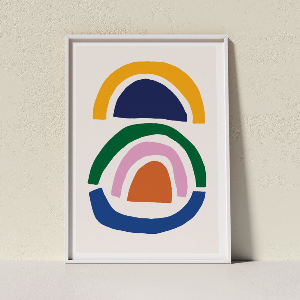 A classic Giclée Art Print from Artist Claire Ritchie. Multi-coloured, floating arch shapes stacked upon each other. A soothing addition to any space.