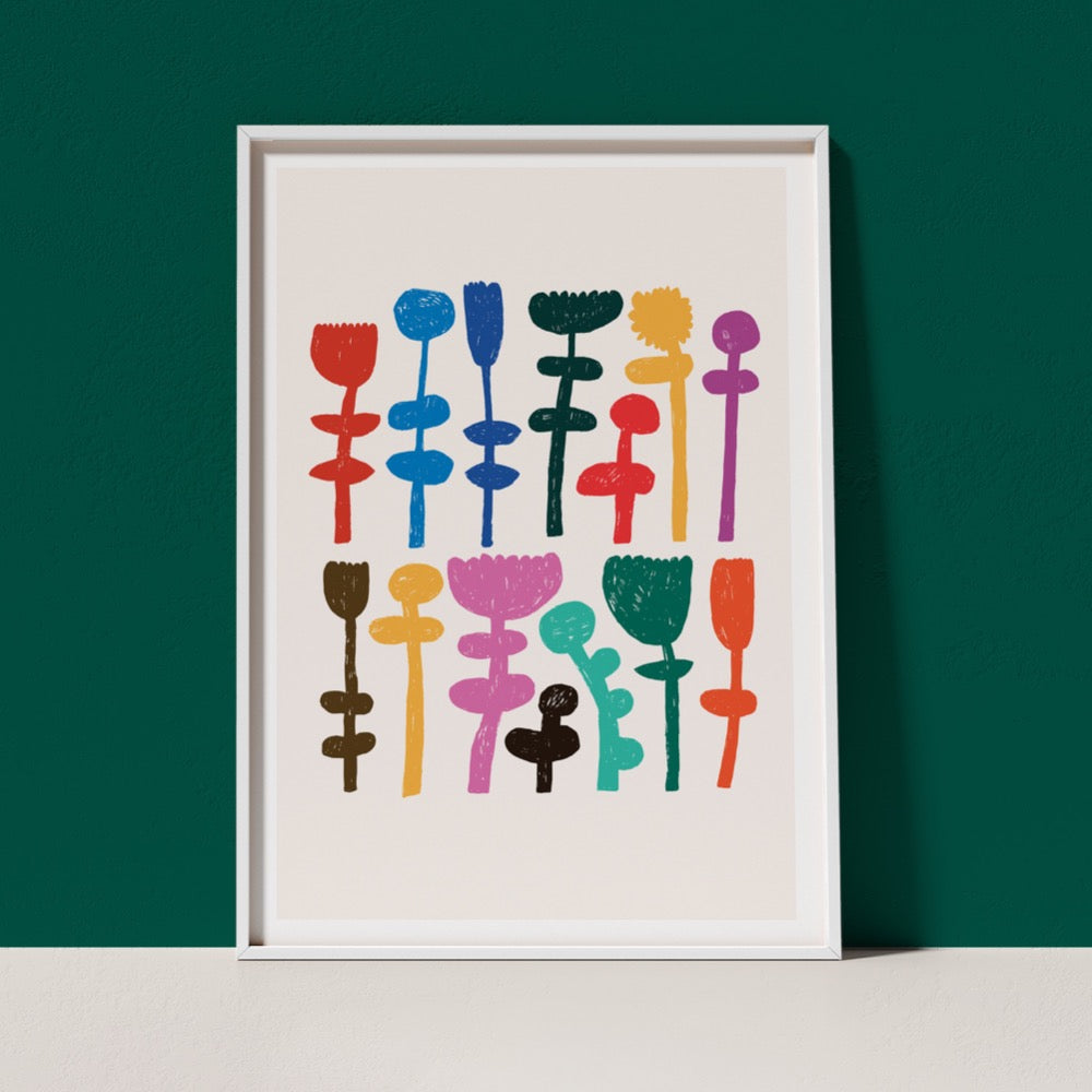 A classic Giclée Art Print from Artist Claire Ritchie. Two rows stacked on each other show multi-coloured stems laid side-by-side. A cheerful addition to any space.