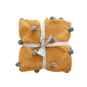 Organic Pom Pom Blanket - Butterscotch & Grey