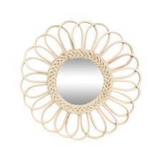 Load image into Gallery viewer, Large Flower Rattan Mirror