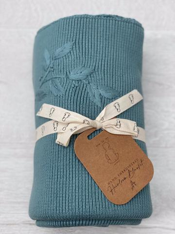 Heirloom Embroidered Blanket - Teal