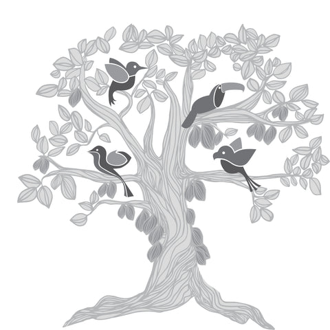 cacao tree with birds, Kakaw Designs