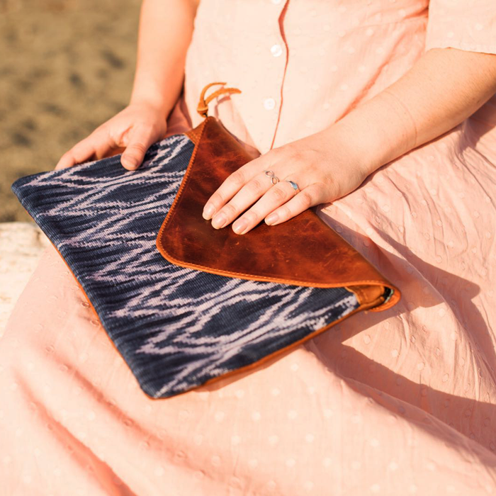Oversized Indigo Clutch