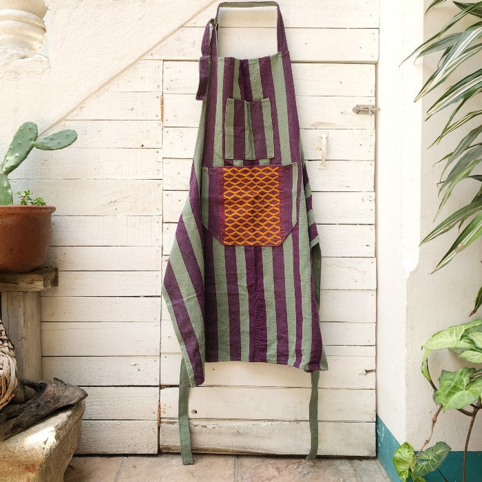 Striped Apron in Plum and Green