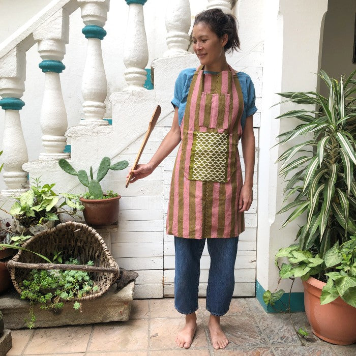 Striped Apron in Rose and Olive