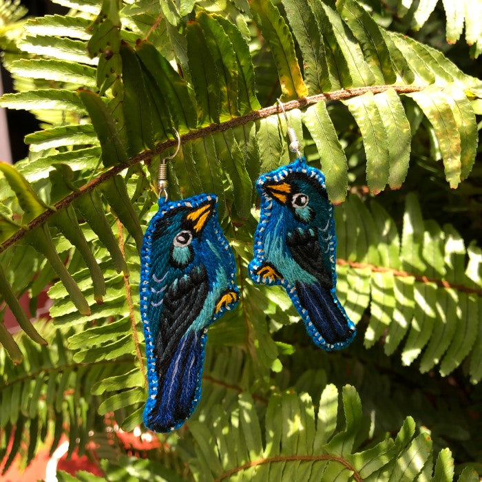 Bird earrings: Blue