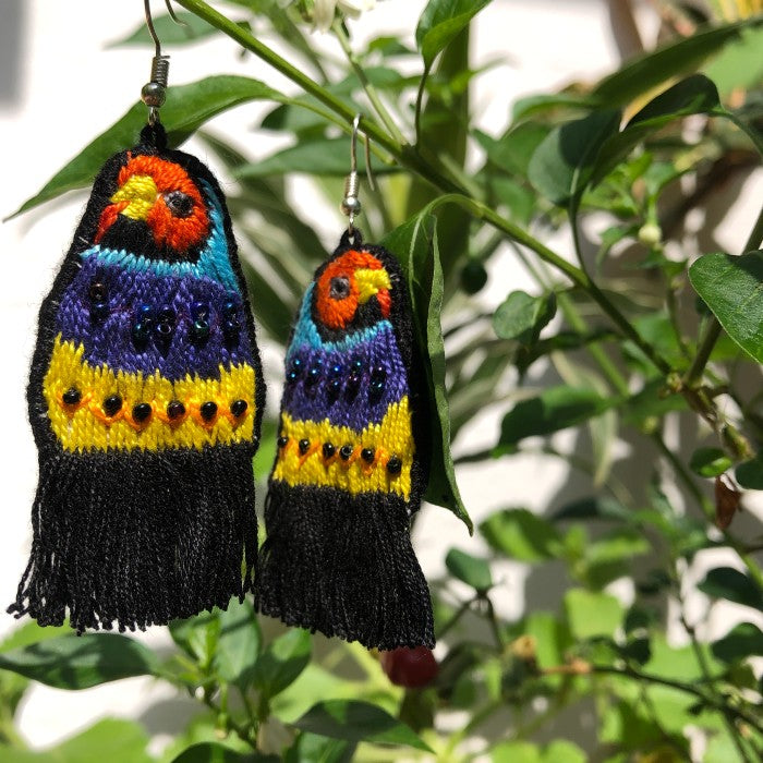 Bird Earrings: Black Fringes