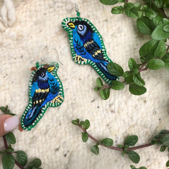 Bird Earrings: Blue 2