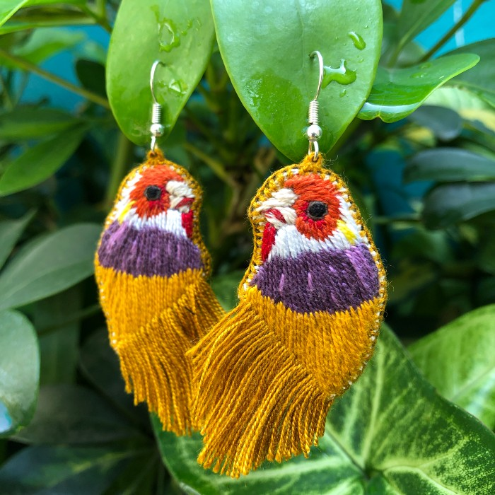 Bird Earrings: Mustard Fringes