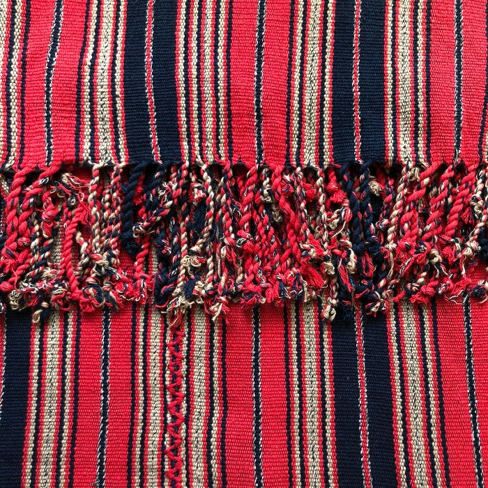Cotton handspun bedspread in Indigo and Red