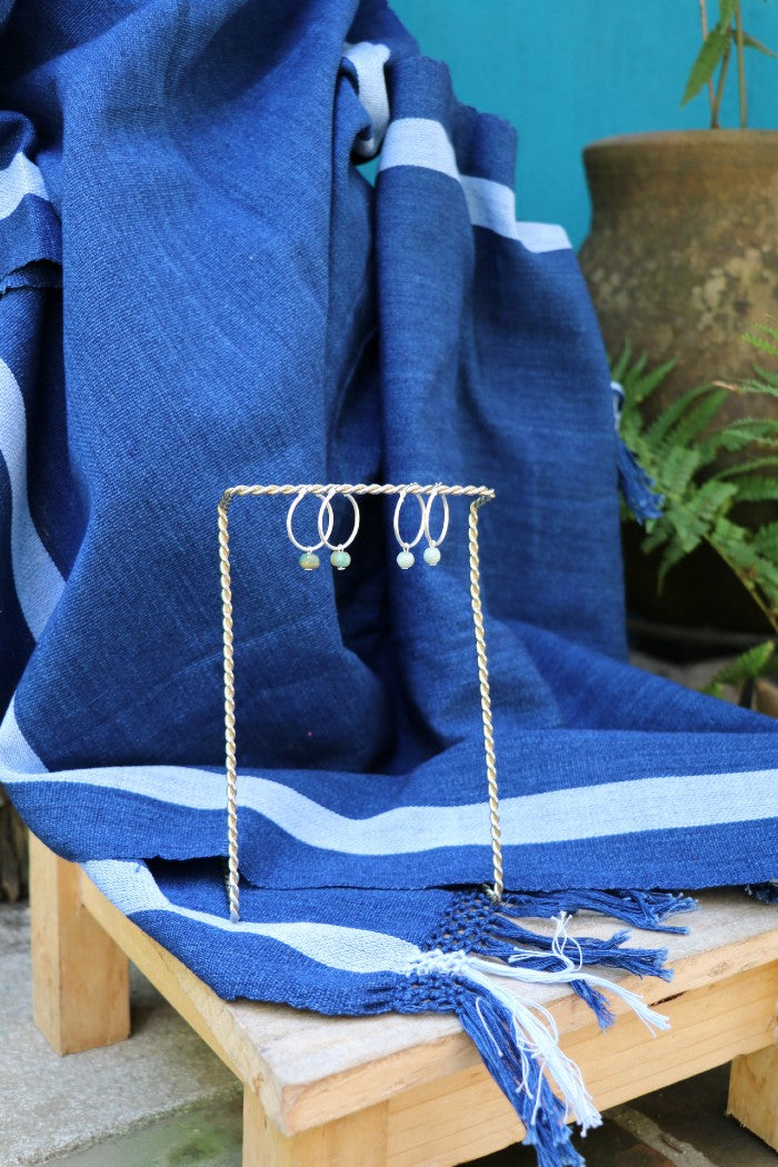 COMBO 1: Indigo Footloom Scarf and Jade Earrings in Loop