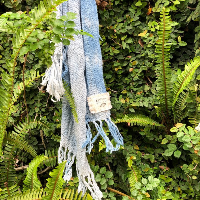 Handspun Cotton Scarf in Natural Indigo